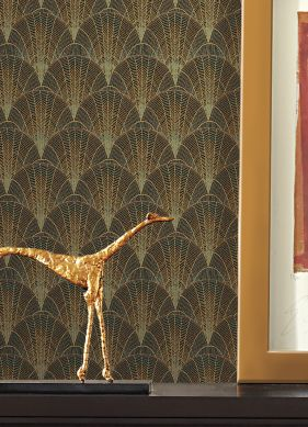 Papel de parede Speakeasy dourado mate Raumansicht