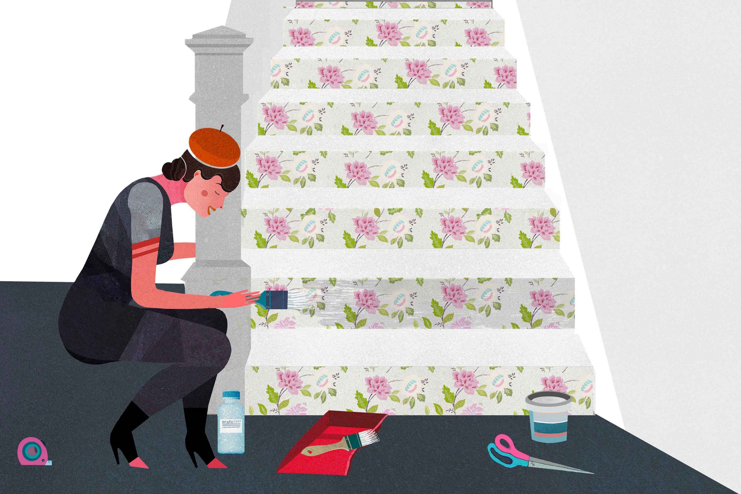 How-to-beautify-stairs-with-wallpaper-Apply-a-layer-of-transparent-latex-paint-to-protect-the-wallpaper