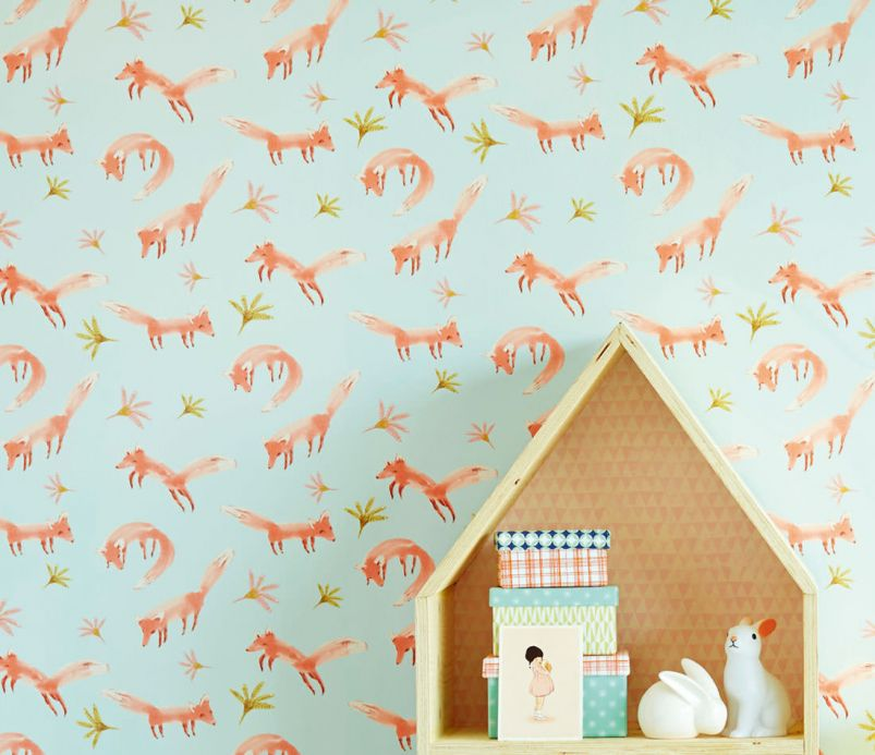 Archiv Wallpaper Little Foxes salmon orange Room View