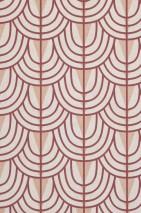 Papel de parede Yamila Mate Curvas Triângulos Branco creme Vermelho bege Vermelho vinho