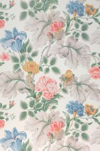 Wallpaper Jonata Matt Leaves Flowers Cream Beige grey Green Green blue Salmon red Ochre