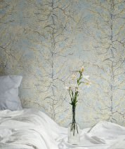 Wallpaper VanGogh Tree Matt Tree Leaves Blossoms Pastel turquoise Pale yellow Cream Pastel violet Violet blue