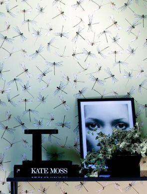 Papel de parede Dragonfly cinza sedoso Ver quarto
