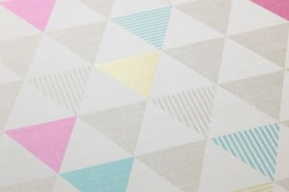 Wallpaper Zenem Matt Triangles Cream Grey beige Green yellow shimmer Magenta Turquoise
