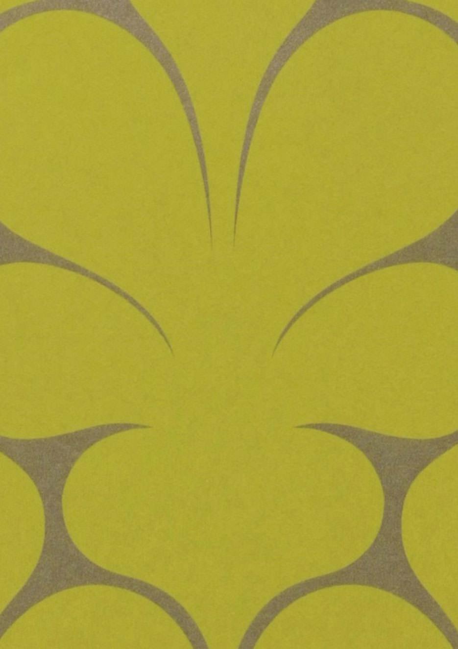 Papier peint velusa gris argent vert jaune papier peint des ann es 70 - Largeur d un rouleau de papier peint ...