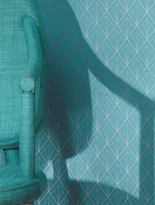 Papel de parede Art Déco Papel de parede Catriona azul turquesa Ver quarto