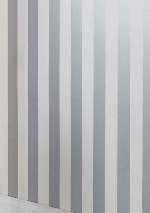Striped Wallpaper Wallpaper Zuleika silver shimmer Room View