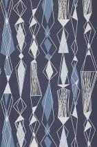 Wallpaper Lodur Matt Graphic elements Dark blue Blue white Grey white Light grey blue