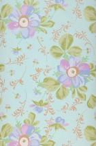 Wallpaper Barbara Matt Blossoms Green white Beige brown Fern green Green beige Red purple Violet blue
