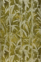 Wallpaper Kenai Shimmering pattern Matt base surface Bamboo leaves Brown Fern green Light yellow Pearl beige