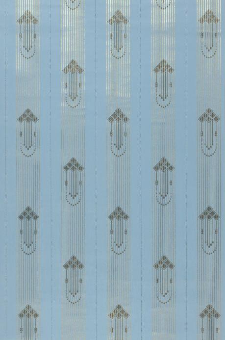 Papier peint à rayures Papier peint Valter bleu clair Largeur de lé