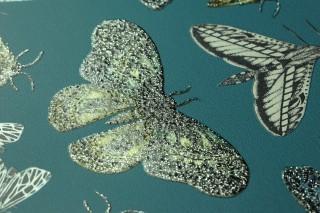 Wallpaper Letizia Shimmering pattern Matt base surface Bugs Butterflies Water blue Yellow Green Pebble grey shimmer Silver glitter Turquoise