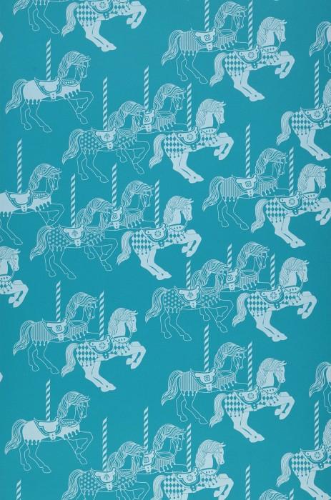 Wallpaper Trinity Matt Carousel Horses Water blue Grey white