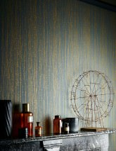 Wallpaper Matisse Hand printed look Matt Graphic elements Stripes Grey Golden yellow