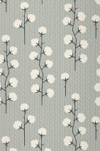 Wallpaper Sweet Cotton Hand printed look Matt Cotton plant Grey Cream Light grey Black grey
