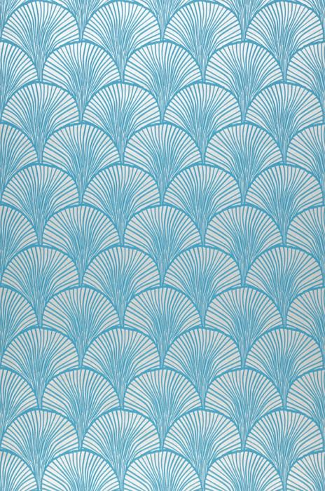 Wallpaper Nippon Hand printed look Matt Fan pattern Stylised leaves White aluminium Turquoise