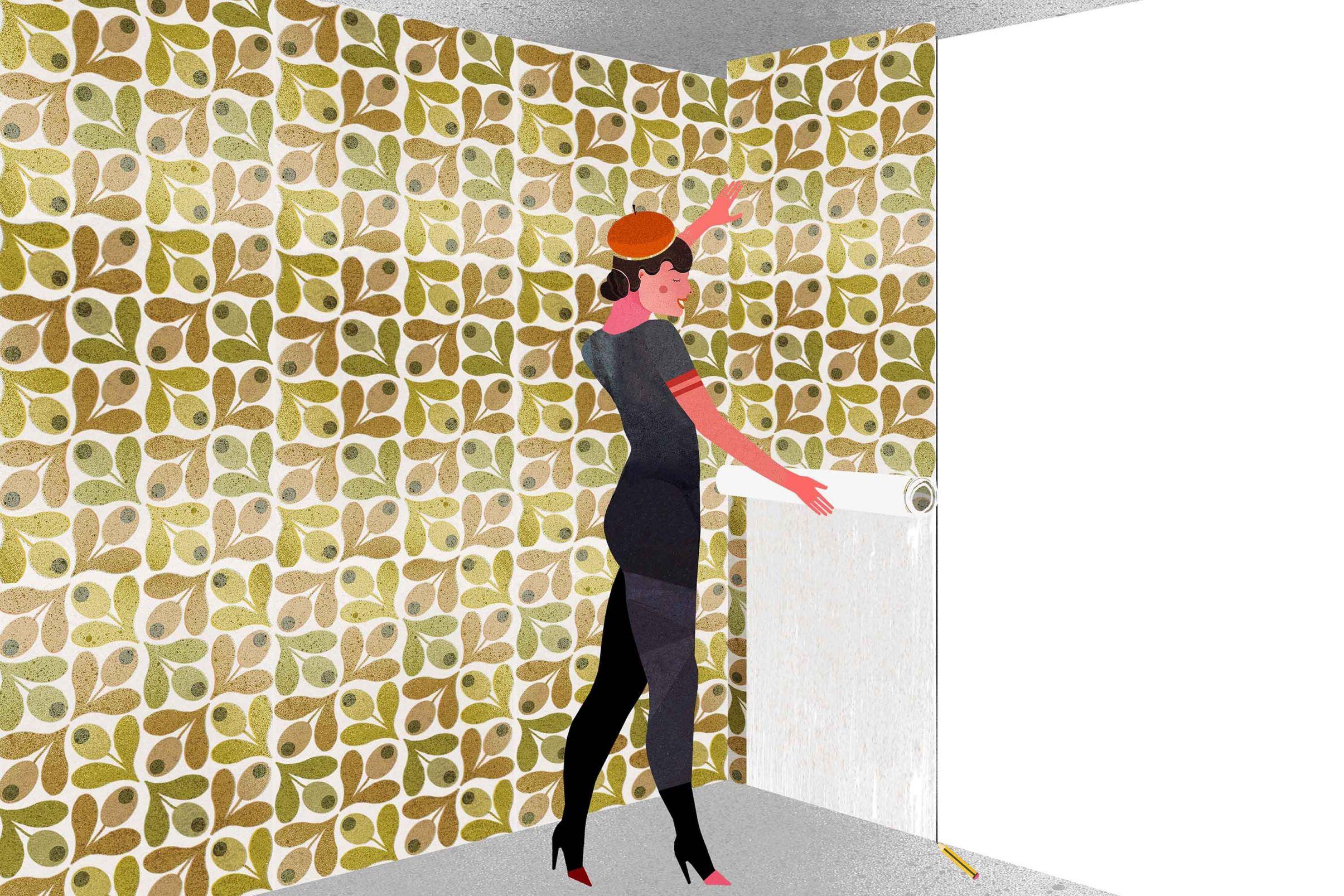 Como-colocar-papel-de-parede-em-cantos-Colocar-uma-nova-faixa-com-sobra