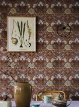 Wallpaper Lovisa Matt Leaves Flowers Fruits Historic damask Rosewood Beige Pale rosewood Grey blue Nut brown
