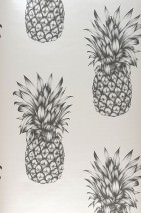 Wallpaper Pineapple Paradise Matt Pineapple Grey white Black grey