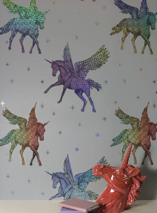 Archiv Papel pintado Flying Unicorns plata metálico Ver habitación