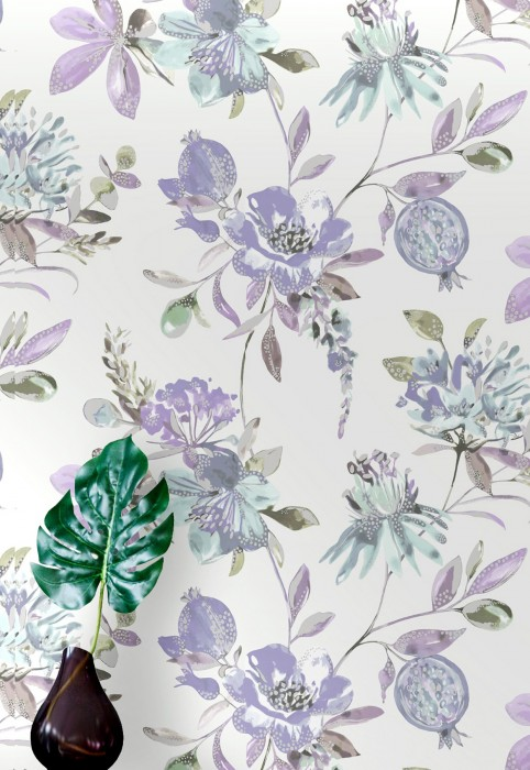 Wallpaper Candice Matt Branches with leaves and blossoms Cream Blue lilac Grey blue Light green Silver shimmer