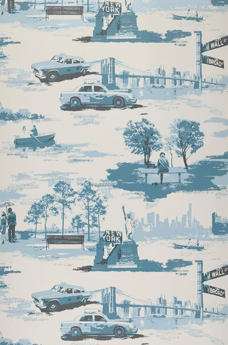 wallpaper new york toile cream ocean blue pale blue shimmer black grey wallpaper from the 70s. Black Bedroom Furniture Sets. Home Design Ideas