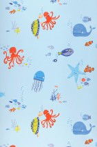 Wallpaper Tyrus Shimmering pattern Matt base surface Fishes Octopuses Jellyfish Turtles Light blue Shades of blue Yellow green Red orange