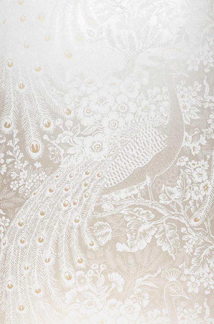 Papel pintado izanuela crema blanco crema oro brillante for Papel pintado romantico