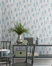Wallpaper Nivian Hand printed look Matt Geometrical elements Retro elements Pale green Cream Grey Mint turquoise Silky grey