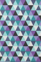 Wallpaper Pilatus Matt Triangles Cream Light green Opal green Black Violet