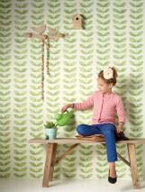 Wallpaper Yonira Matt Leaf tendrils Cream Yellow green shimmer