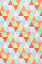 Wallpaper Tamesis Matt Triangles Yellow Light green Pastel blue Red