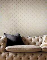 Wallpaper Helene Shimmering Art Deco fans Cream pearl lustre Pearl gold