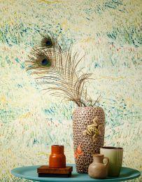 Wallpaper VanGogh Meadow mint turquoise