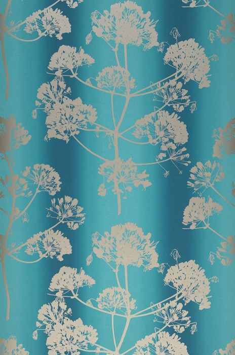 Wallpaper Emorie Matt Field flowers Turquoise blue Water blue Pearl beige