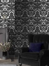 Wallpaper Okina Matt pattern Shiny base surface Baroque damask Silver lustre Black