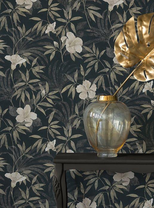 Papel de parede floral Papel de parede Tara antracite Ver ambiente