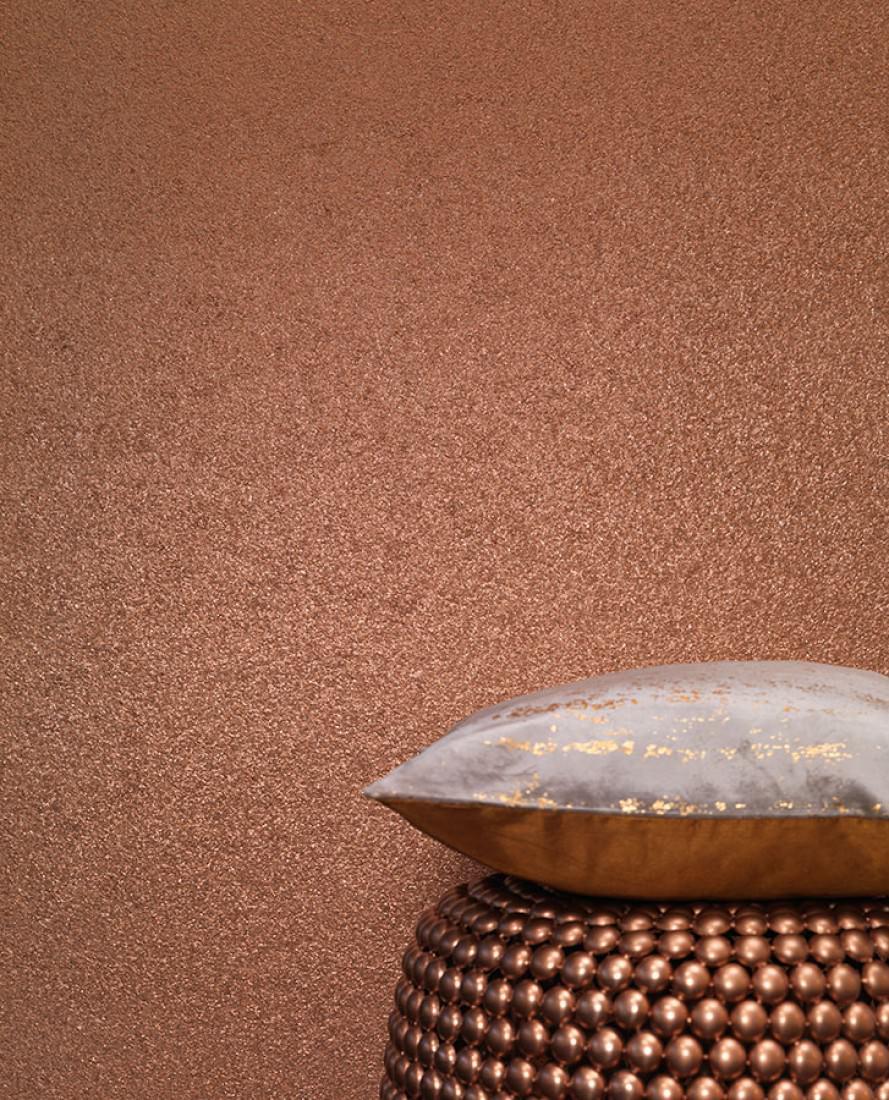 Tapete Mica Modern 01 Schimmernd Unifarben Kupfer. Raumansicht Mica Modern  01