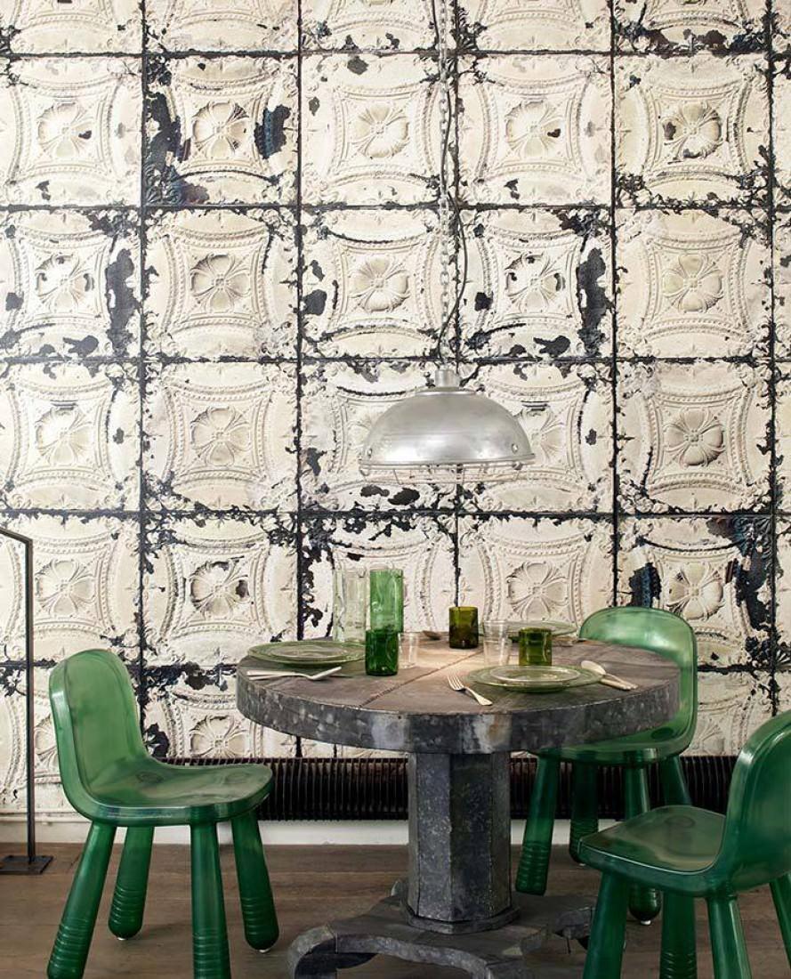 tapete brooklyn tins 01 weiss elfenbein graubraun hellgraubeige schwarzgrau tapeten der 70er. Black Bedroom Furniture Sets. Home Design Ideas