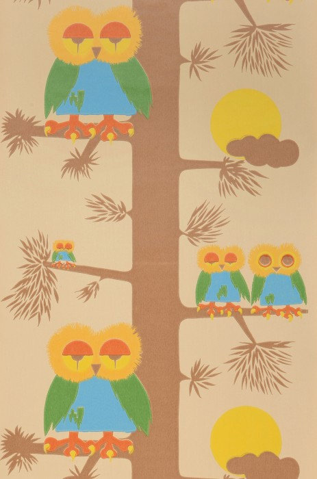 Wallpaper Kira Hand printed look Matt Tree Owls Moon Clouds Beige Blue Brown Yellow Green Orange