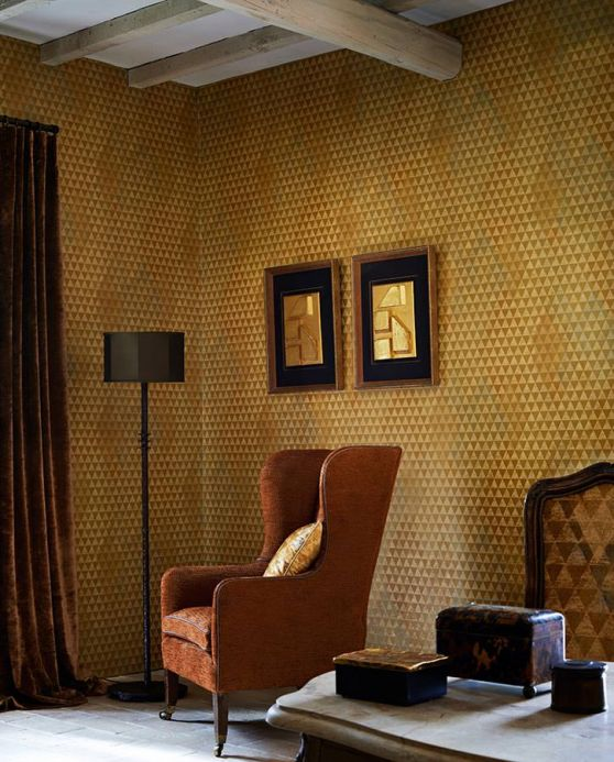 Carta da parati geometrica Carta da parati Orkeb dorato opaco Visuale camera