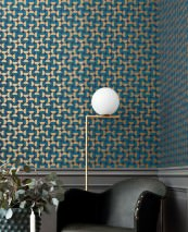 Wallpaper Wahida Matt Geometrical elements Grey blue Pearl gold Water blue