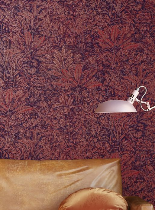Botanical Wallpaper Wallpaper Tropicalia brown red Room View