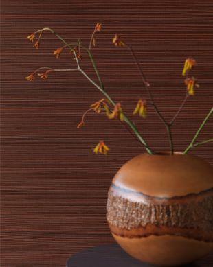 Papier peint Thin Bamboo Strips 01 brun cuivré Vue pièce