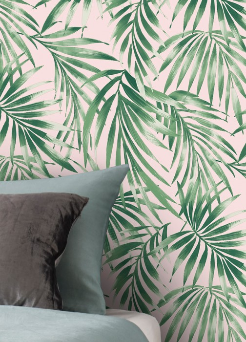 Wallpaper Zohra Matt Leaves Palm fronds Pale pink Shades of green