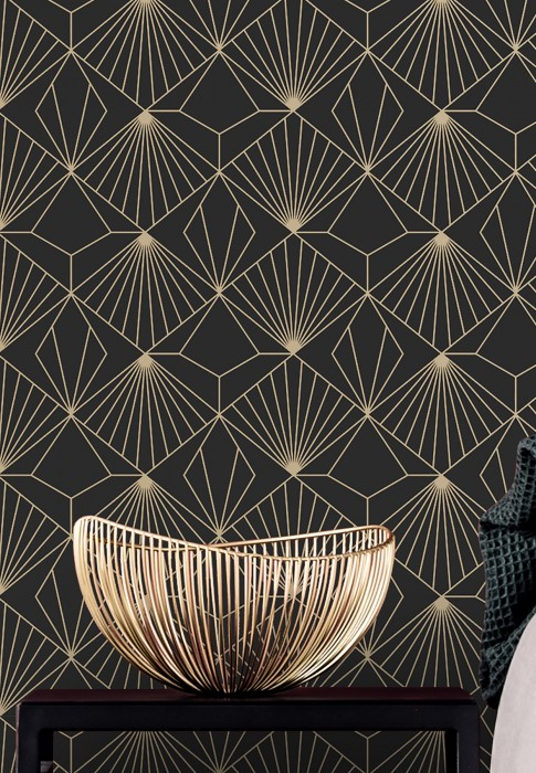 Wallpaper Opera Matt Art Deco Graphic elements Black Gold