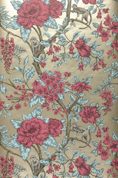 Wallpaper Soraya Matt pattern Shimmering base surface Monkeys Branches with leaves and blossoms Pearl beige Green grey Light green Red violet Black