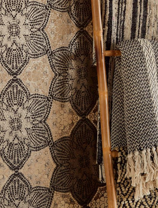 Oriental Wallpaper Wallpaper Marrakesh black brown Room View