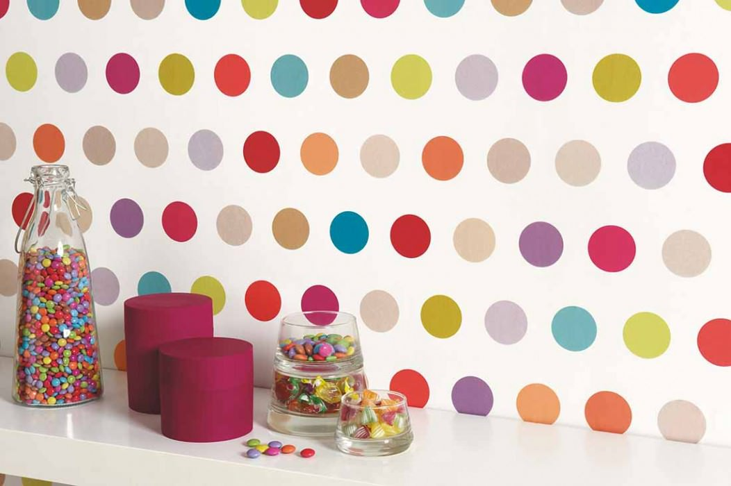 Wallpaper Elin Matt Dots White Blue Light yellow green Orange Pastel turquoise Red Violet