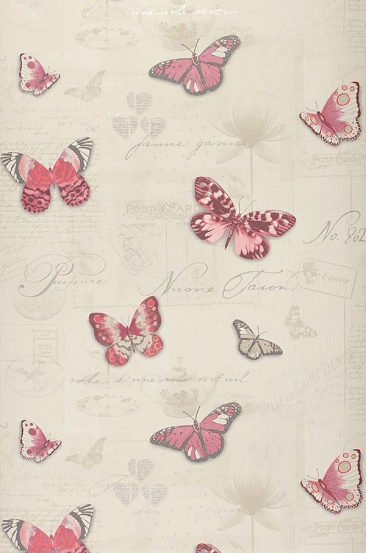 Papier Peint Bodola Ivoire Clair Beige Violet Rouge Pale Rouge